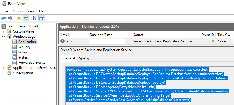 veeam event viewer error