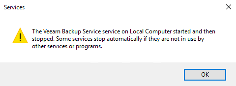 Veeam Backup Service wont Start