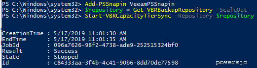 powershell SOBR tiering job result.