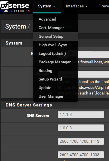 Cloudflare with Pfsense Pfsense > System > General Setup